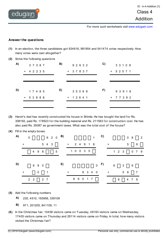 Grade 4 Math Worksheets and Problems Addition – Grade 4 Mental Math Worksheets