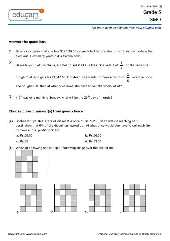 Grade 5 ISMO Printable Worksheets Online Practice Online Tests – Grade 5 Worksheets