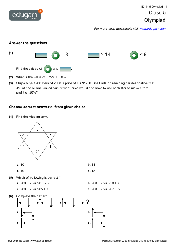 Grade 5 Olympiad Printable Worksheets Online Practice Online – Mental Maths Worksheets for Class 5