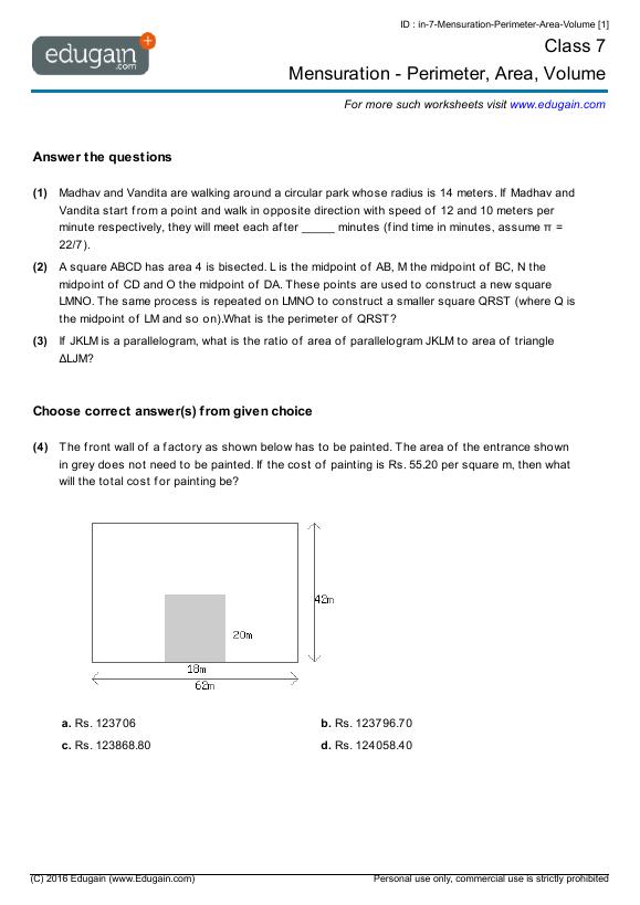 Grade 7 Math Worksheets and Problems Mensuration Perimeter – Perimeter Circumference and Area Worksheet