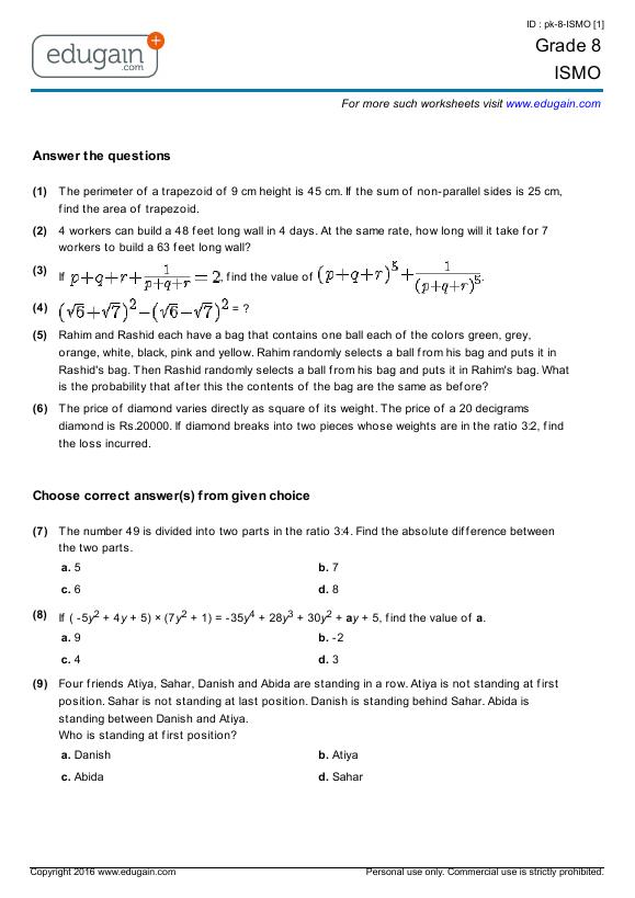 Grade 8 ISMO: Printable Worksheets, Online Practice, Online Tests ...