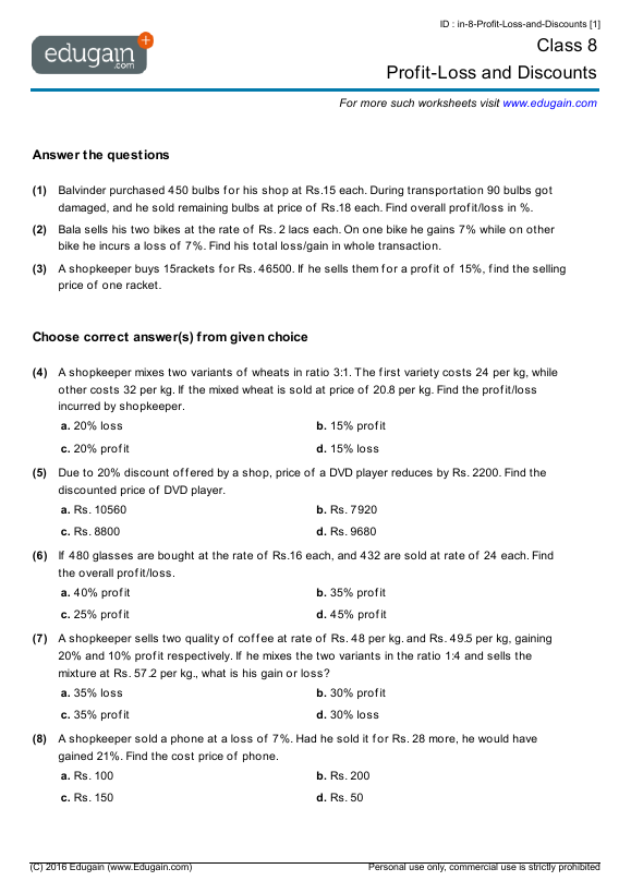 Printables Free Profit And Loss Worksheet printables free profit and loss worksheet safarmediapps intrepidpath grade 8 math worksheets and
